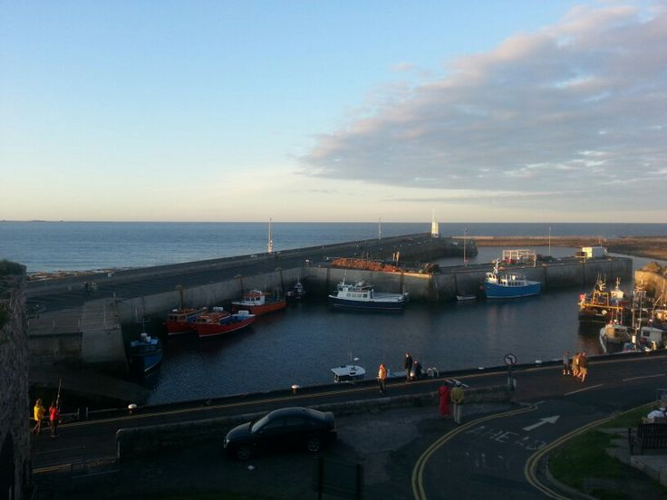 Seahouses harbour at sunset
