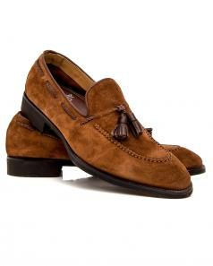 Image of Di Bianco Cacao Suede Tasseled Loafer