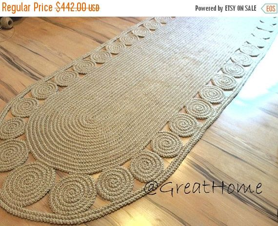 Hallway Rug 9 foot rug Twine Crochet rug Long Runner by GreatHome