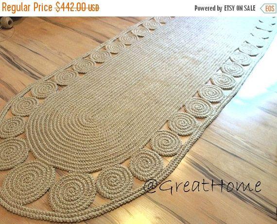 Hallway Rug 9 foot rug Twine Crochet rug Long Runner by GreatHome
