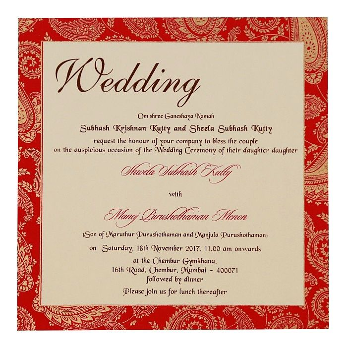 Ivory Matte Paisley Themed Screen Printed Wedding Invitations