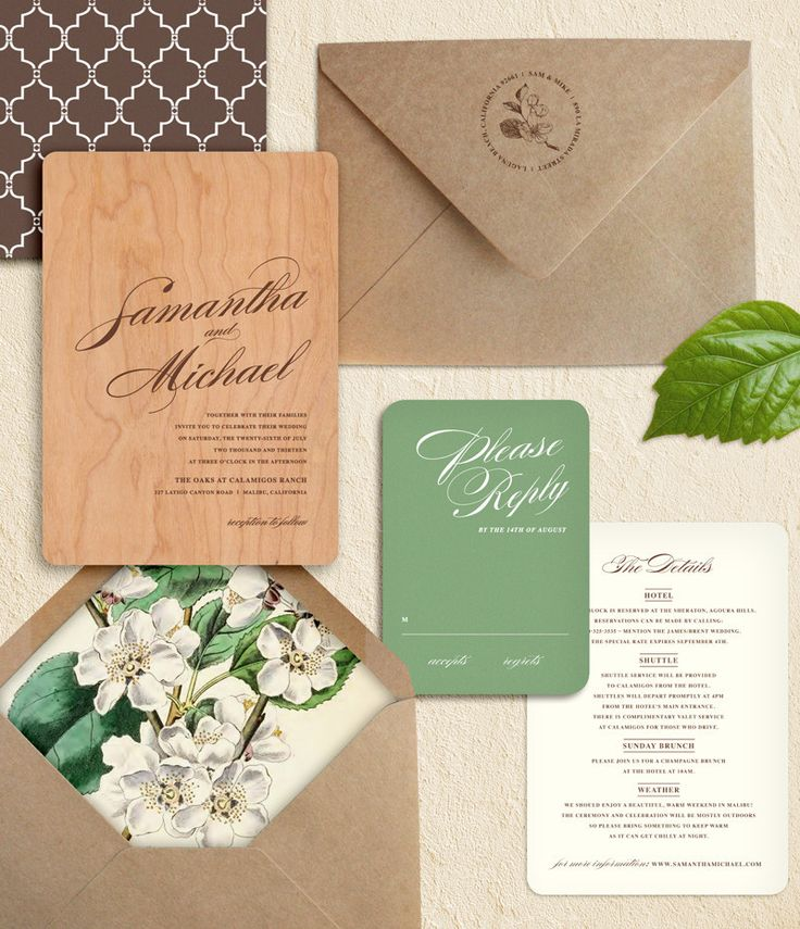 Rustic Wood Wedding Invitation, White Plum Blossoms, And Recycled Brown  Paper Bag Envelope: