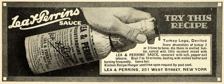 1915 Ad Lea Perrins Worcestershire Sauce Deviled Turkey Legs Recipe PM3