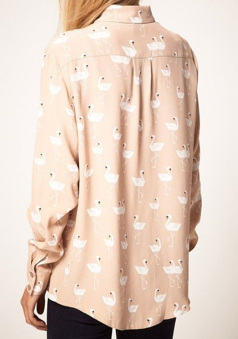 {pink swans shirt} kinda love this! + the swans are a little flamingo-like :)