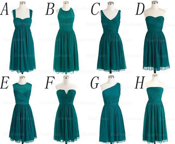 mismatched bridesmaid dresses, teal bridesmaid dress, short bridesmaid dresses