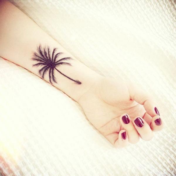 palm tree tattoos, arm, wrist, design