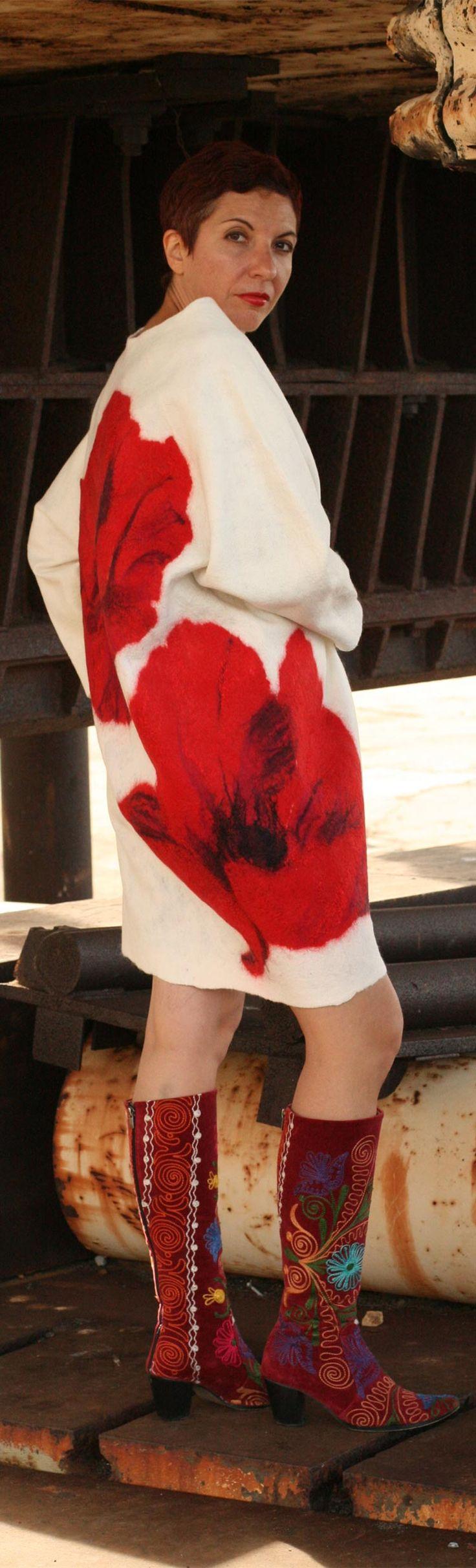 Buy unique felted jacket by Vera Alexanderova. #felted #felt #fashion #coat #jacket #white #unique #women #womensfashion #womenswear #boho #bohochic