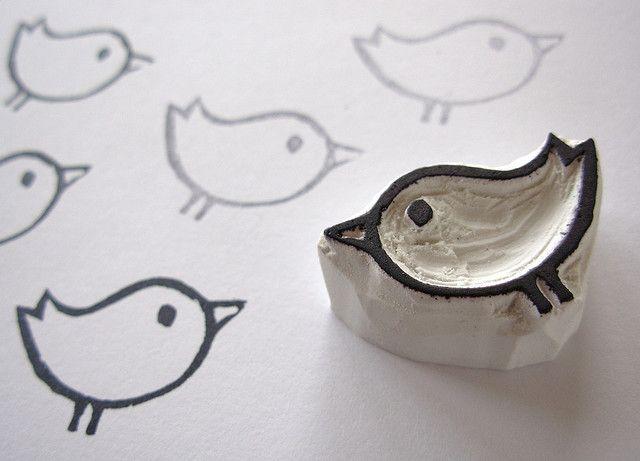stempel vogeltje DIY