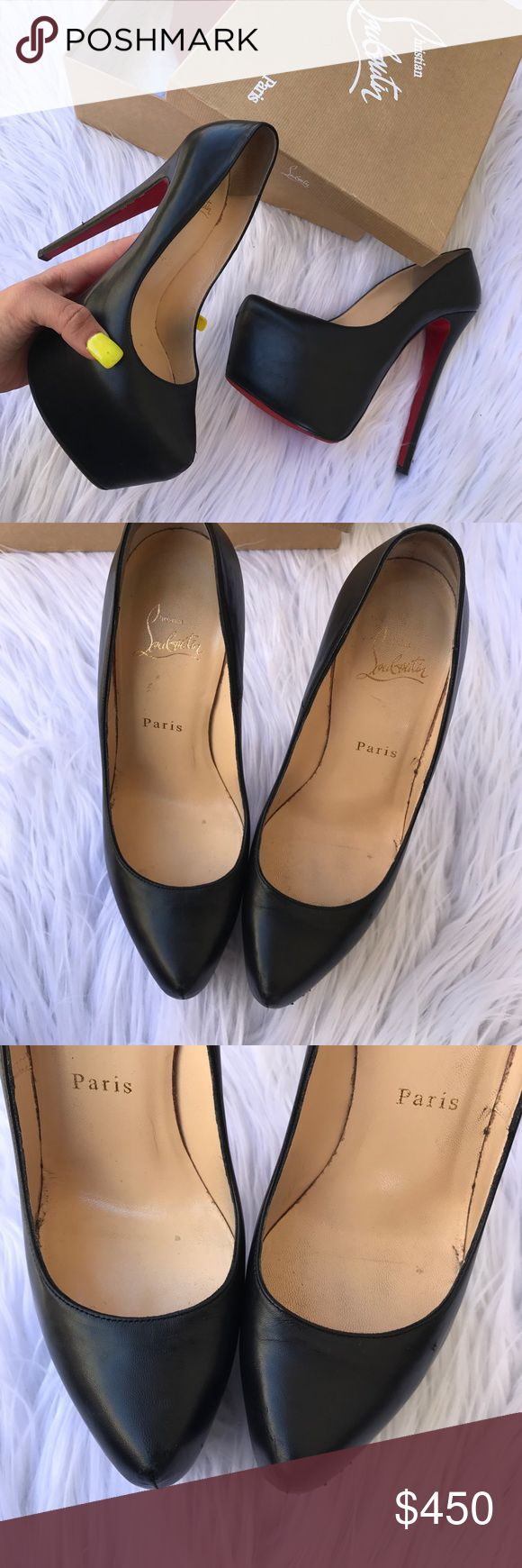 CHRISTIAN LOUBOUTIN 37 or 6 DAFFODILE HEELS SHOES 100% authentic ! DAFFODILE black Louboutins ! Examine photos carefully please :) they always run a SZ smaller so they fit a 6 best!:) Christian Louboutin Shoes