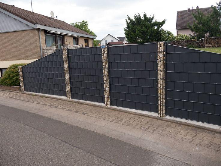 Sichtschutzzaun mit Gabionenpfosten Gartengestaltung