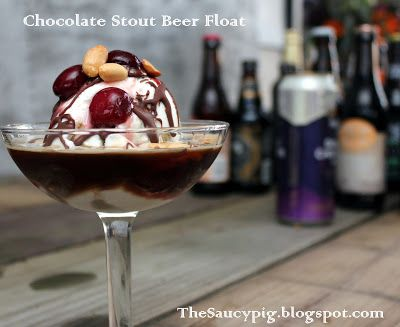 Chocolate Stout Beer Float, w/ Rum Glazed Cherries. An awesome adult ...