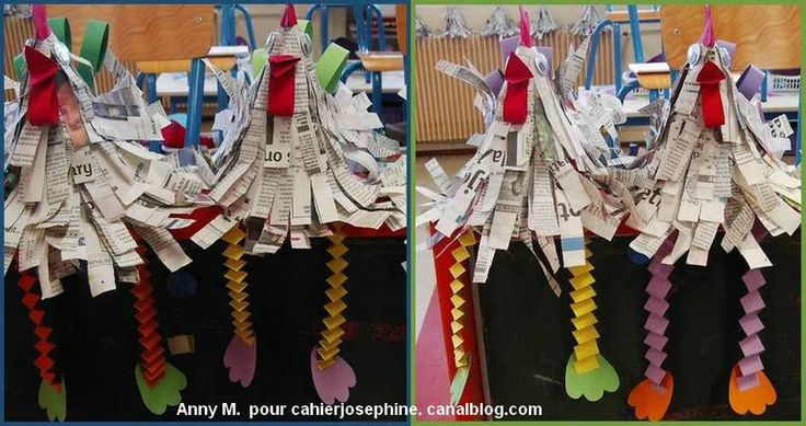For the technique is simple:  A cone of paper on which are glued strips of paper. We start with the bottom turn and back covering every time up strips of the previous round.  legs are made ​​on the principle garlands accordion, easy to perform by children because it is a simple 2 folding strips of paper.  remains then paste the cut shapes (crest, wings and feet) beak and a small band folded in 2 barbs