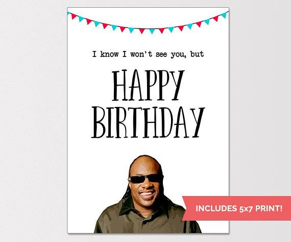Stevie Wonder Birthday Card Funny Birthday Card Rude Humor