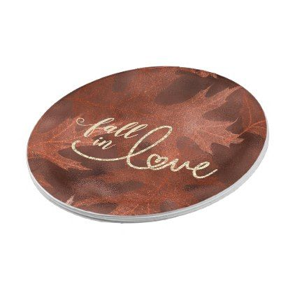 Fall in Love with Autumn | Rustic Boho Chic Orange Paper Plate – autumn gifts te…