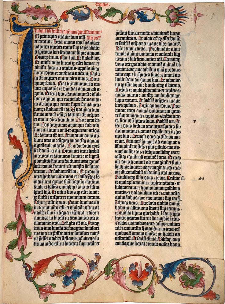 Illuminerte Seite aus der Gutenberg-Bibel, der ersten gedruckten Bibel, Johannes Gutenberg, um 1454, nicht nach August 1456. (Quelle: Niedersächsische Staats- und Universitätsbibliothek Göttingen, Signatur: 2¡ Bibl. I, 5955 Inc. Rara Cim.)
