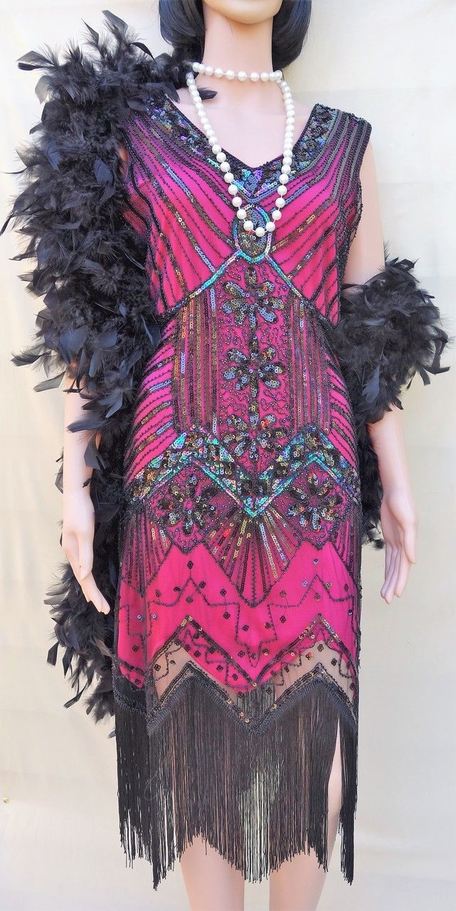 Hire -1920's Black and Hot Pink Flapper Dress. Size 8-10 | Pink ...