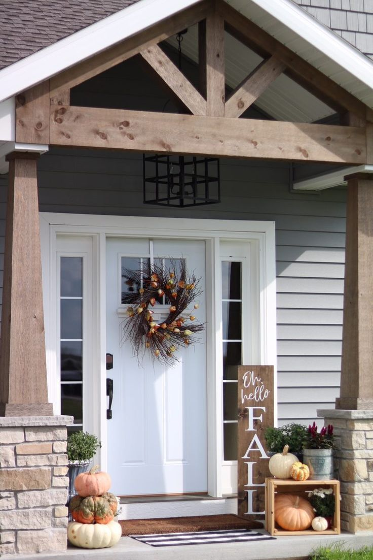 Our Fall Front Porch Features Modern Pumpkins An Apple Crate Turned On It S Side An Antique Fall Front Porch Decor Front Porch Remodel Front Porch Decorating