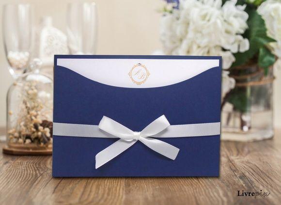Convite de Casamento Classico - Azul Marinho