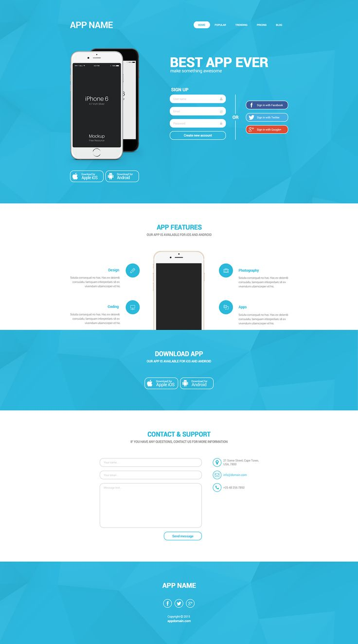 [FREE DOWNLOAD] Simple landing page for mobile app on Behance