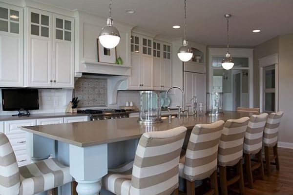 Striped Bar Stools Pendant Lights Over Island