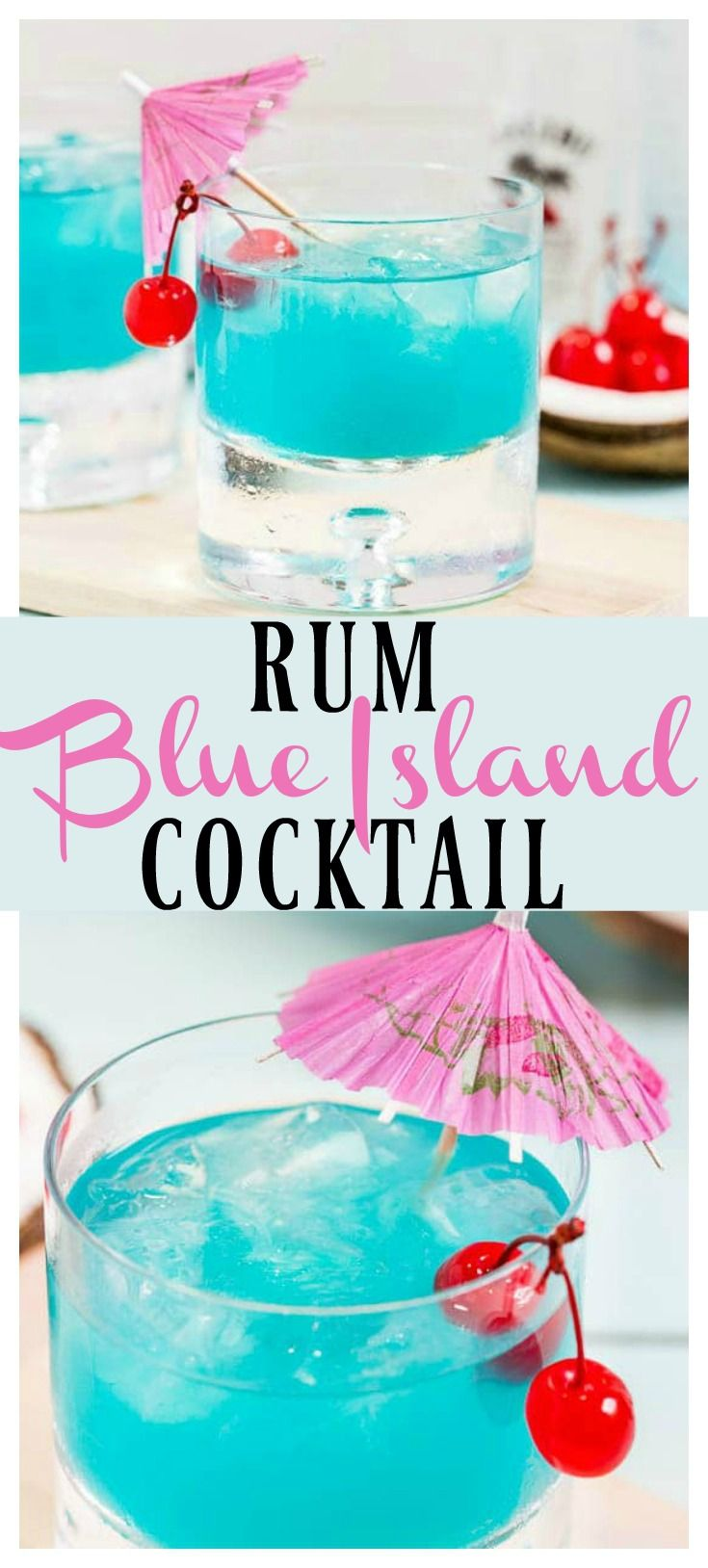Rum Blue Island Splash Cocktail | This easy cocktail is like a taste of the tropics! Made with coconut, citrus, fruity flavors and rum, this libation is smooth and fabulously refreshing! #rum #cocktail #island #blue #drink via @nospoonn