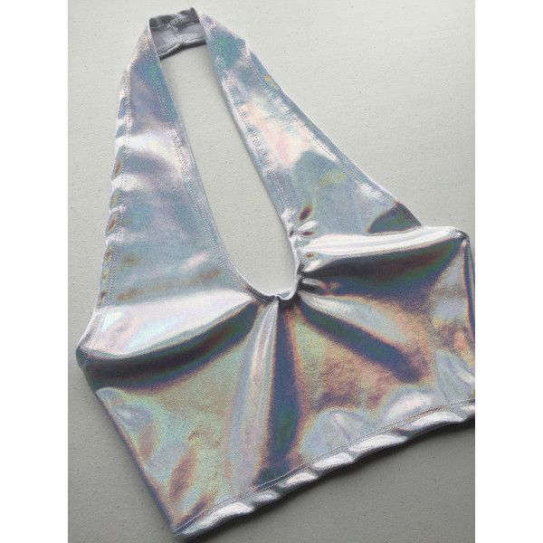 Dreamscape Hologram No-Tie Halter Top Holographic Crop Top Ravewear... (160 RON) ❤ liked on Polyvore featuring tops, halter tops, silver, women's clothing, wrap around crop top, plunge halter top, silver top, silver crop top and halter neck crop top