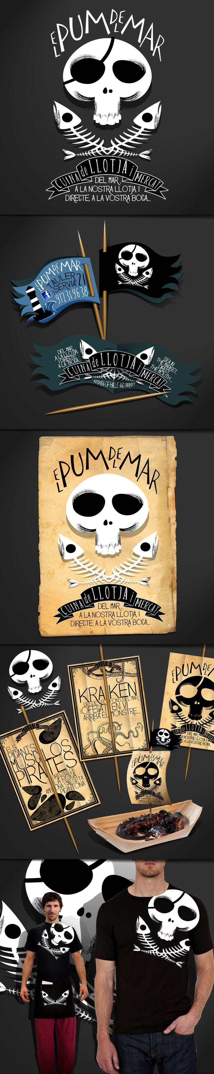 """Cliente: El Pum del Mar / Agencia: 28 Live Project / Año: 2015 / Imagen Corporativa de el restaurante """"El Pum del Mar"""", especializado en pescado fresco y con un alma pirata y filibustera!!"""