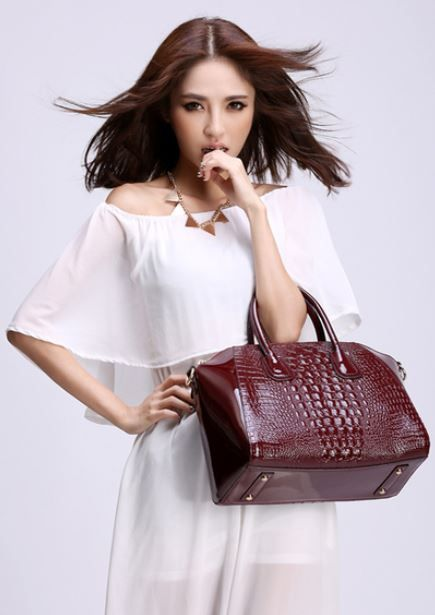 FREE SHIPPING Red Novelty Genuine Leather Handbag for