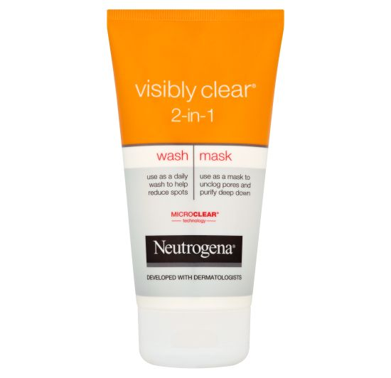 2-i-1-hudvård som ger två kompletterande behandlingar! NEUTROGENA VISIBLY CLEAR® 2in1 Wash Mask tar bort orenheter och hjälper till att motverka finnar, så att du får en renare hy. 150 ml