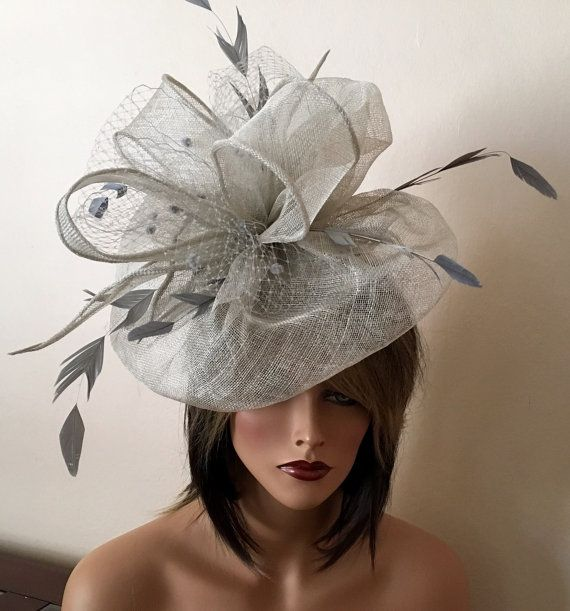 Kentucky Derby grey fascinator. Derby hat. by AnnettesCouture