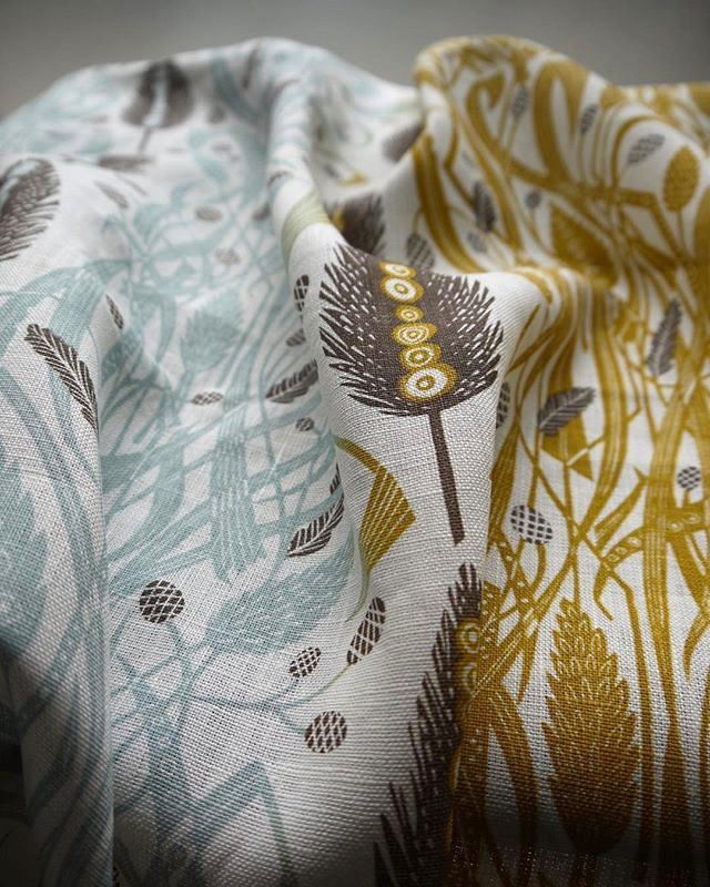 Looking back at the sampling of Angie Lewin's 'Meadow's Edge' fabric for St Jude's, based on an original linocut