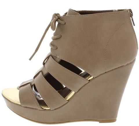 LENA540 TAUPE LACE UP CAGED PEEP TOE WEDGE ONLY $10.88