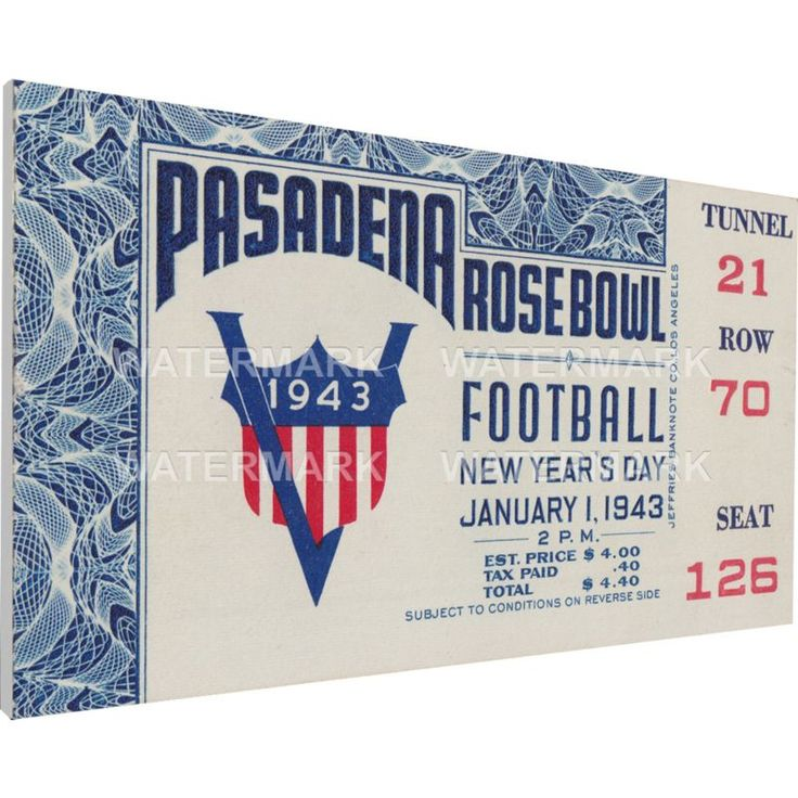 That's My Ticket Georgia Bulldogs 1943 Rose Bowl Canvas Mega Ticket, Team