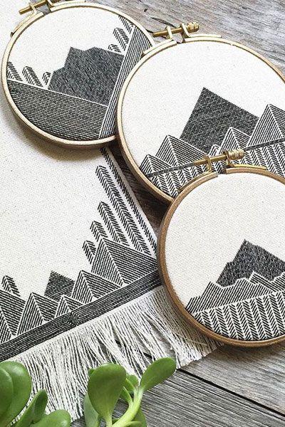 Geometric Embroidery Work by Stephanie Lapre                                                                                                                                                                                 More