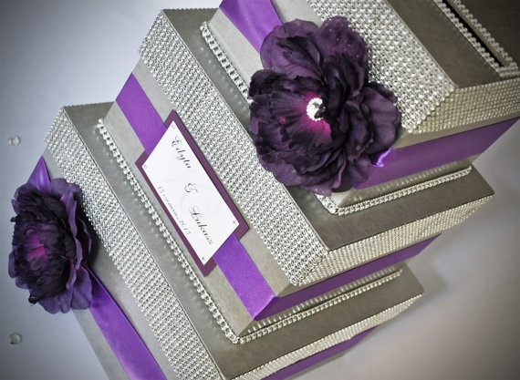 Card box / Wedding Box / Wedding money box - 3 tier - Personalized - Purple. $89.00, via Etsy.