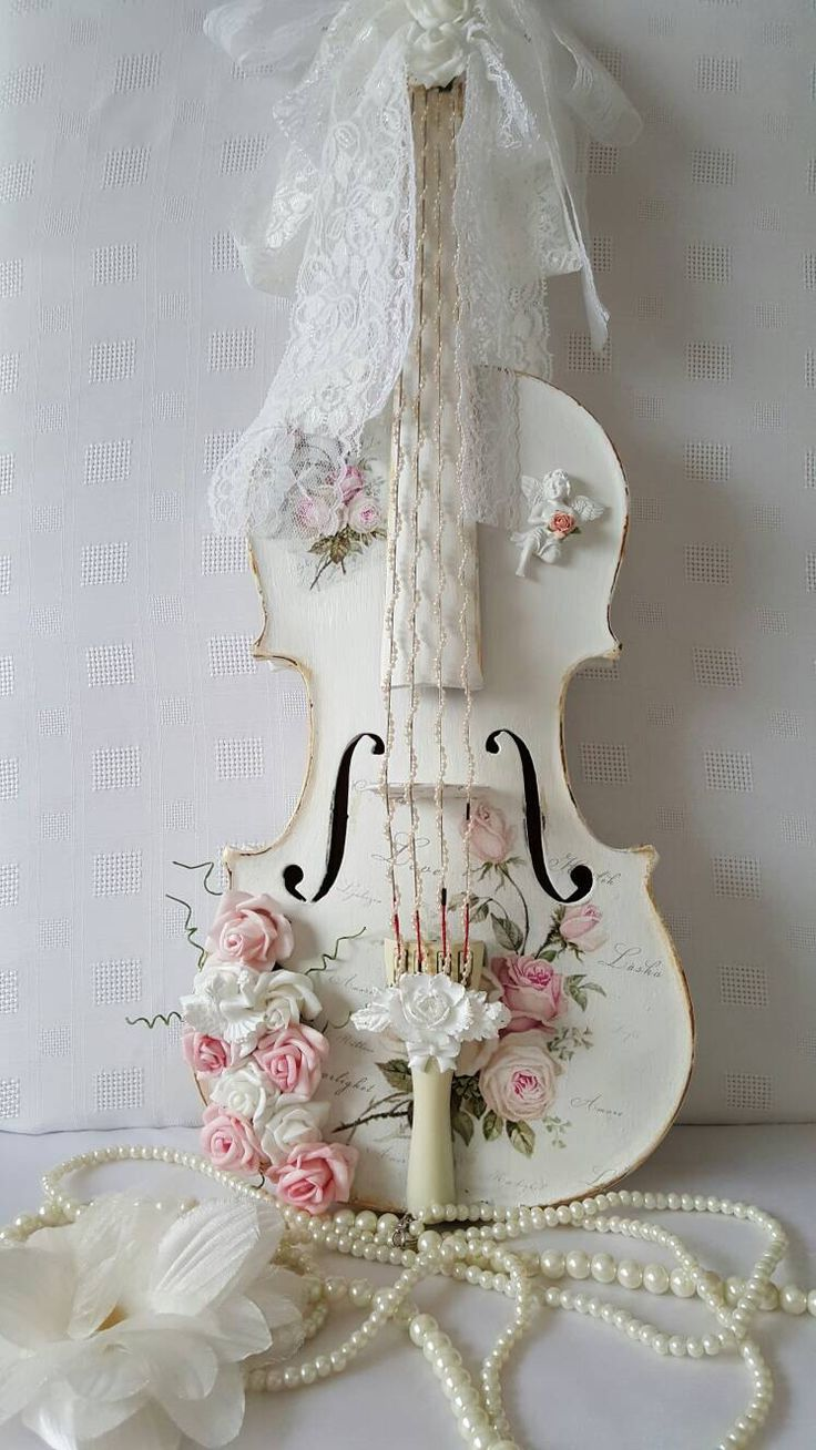 Diy shabby chic home decor - Country Couture Shabby Chic Hand Painted Wooden Violin Shabby White Shabby Roses