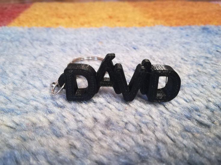 3D printed letter keyring personalised for David.  #3dprints #3dprinted #keychain #keyring #kulcstartó #david