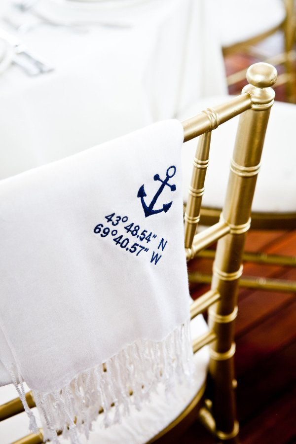 Pashminas with coordinates. Nautical. Photography by meghansepeweddings.com, Floral Design by sarahrogersflowers.com