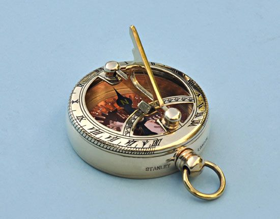 Polished Brass Pocket Sundial Compass with Copper Compass Rose
