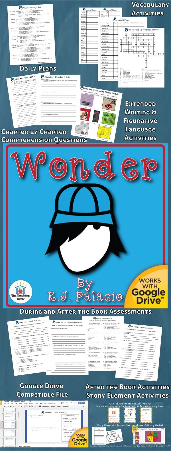Wonder Novel Study is a Common Core Standard aligned book unit to be used with Wonder by R. J. Palacio. This download contains both a printable format as well as a Google Drive™ compatible format.