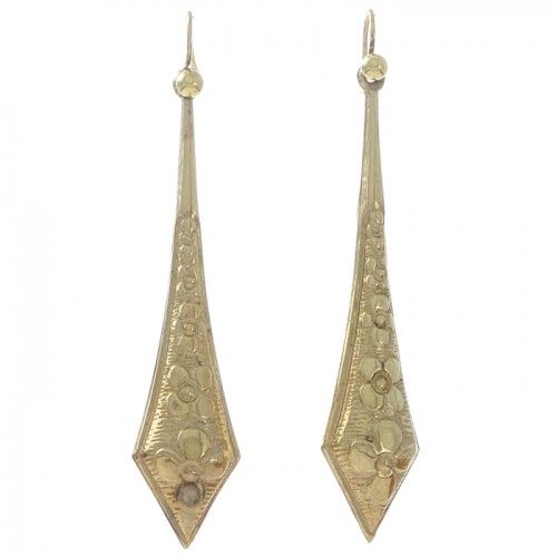 A pair of 12ct yellow gold drop earrings in the form of a long kite shape with stylised flowers running the length of the drop to a pair of gold shepherds hooks (probably later). #Rutherford #Melbourne