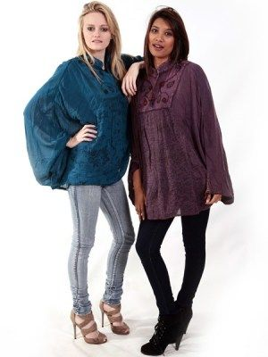 Feel free in this comfortable yet light alternative poncho. Made from natural products with a beautifully embroidered bodice. #ponchos #summertops #hippieclothing #hippyclothing