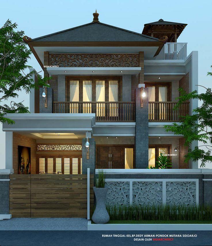 Rumah Etnik jawa 2 Lantai Joglo, desain fasad rumah khas ornamen ukiran jawa dengan material kayu mendominasi, berdiri diatas lahan 10 X 18 M di Sidoarjo-Jatim.