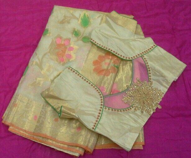 Banaras saree with pattern blouse 7702919644