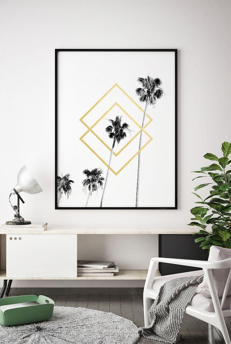 Tropical Leaf Printable, Black White Gold Printable, Tropical Leaf Print, Black White Gold Print Wall Art, Home Decor, Palm Leaf Print, Art