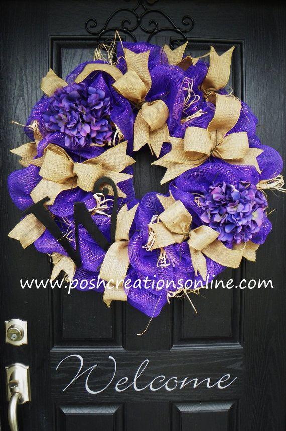 Spring Purple Spring Wreath  Summer Mesh Wreath by poshcreationsKY, $99.00