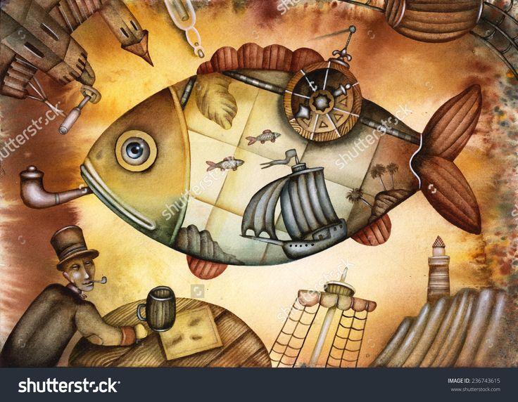 The Great Geographical Travel Illustration by Eugene Ivanov #eugeneivanov #sea #voyage #sail #ship boat #cruise #sailor #captain #seafarer #seaman #mariner #vessel #boat #@eugene_1_ivanov