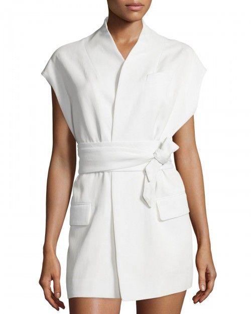 Iro+Leano+Open+Front+Crepe+Vest+Ecru+Women's+36+|+Clothing