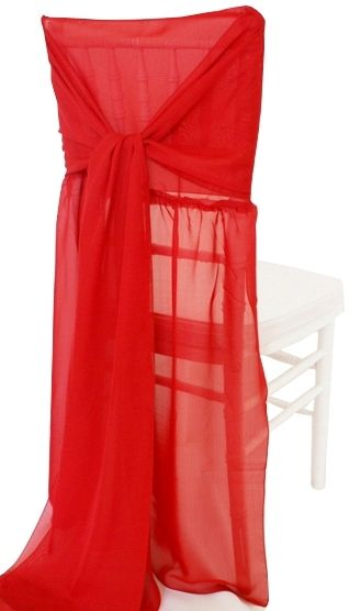 Rent Chair Covers Chiffon Chiavari With Sash Apple Red in Houston. For weddings, ceremony, anniversary celebration, banquet, party, corporate special events