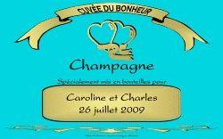 Etiquette champagne mariage personnalisées de couleur